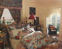 Vtg 90s Curtain Set -6 Rodpocket Panels, 2 Blouson Valance Blue Denim Red Floral