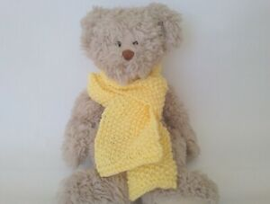 Teddy Bear Clothes, Pastel Yellow Hand Knitted Scarf