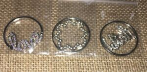 Origami Owl Three Gorgeous Authentic Large Window Plates. Silver Crystals