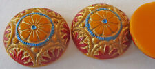 30 Vintage Czech 18mm Handpainted GORGEOUS Round Yellow Textured Cabochons