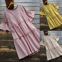 ZANZEA Women Short Sleeve Summer T-Shirt Dress Beach Holiday Mini Dress Sundress