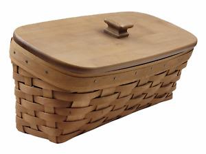 "Longaberger 2004 Slanted Basket w/ Lid & Plastic Protector (12x6.5x5.5"")"
