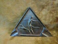 Art Deco Metal Ashtray/Running Nude W/Dog/Made in Jougoslavia