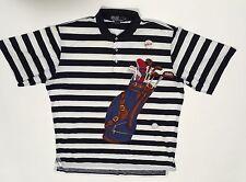 Ralph Lauren Golf Bag Polo Shirt Sz XL Blue Stripe Pullover Cotton Vtg Hong Kong