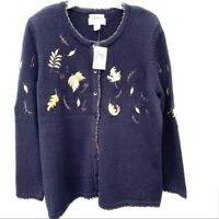 Women's Christopher & Banks Hand Embroidered Navy Blue Cardigan Sweater Size X