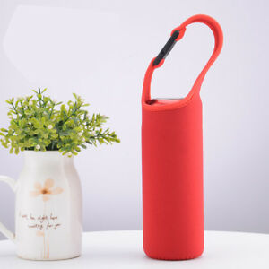 Neoprene GLASS Water Bottle Drinking 500ml Drink Sports Sleeve with Holder Strap