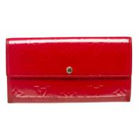Black Friday Sale Used Louis Vuitton Framboise Vernis Monogram Sarah Wallet Red