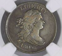 1805 1/2 Half Cent Med 5 No Stems C-1 Au Details Cleaned M1127