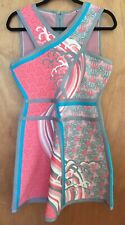 Herve Leger Eriko Contrast Detail Tidal Wave Jacquard Bandage A-Line Dress -Sz L