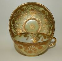 Stunning Antique Gold Encrusted Tea Cup Saucer Set - Japan Hallmark