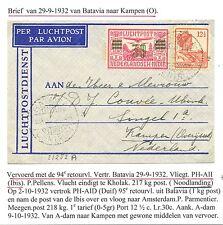 NED INDIE  1932-9-29  FLIGHT CV  BATAVIA-KAMPEN az. LABEL KNILM HOOGER REISGENOT