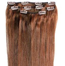 Clip en Remy 100% cabello humano Real extensiones media cabeza de Cobre Marrón Mix 4/30 #