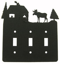Moose Lodge Triple Switch Cover Plate Black