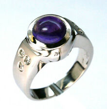 14kt White Gold 1.21ct Amethyst Ring with Dia