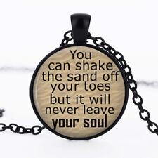 Sand Beach photo dome Black Cabochon Glass Necklace chain Pendant