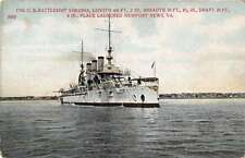 Military Battleship USS Virginia Antique Postcard J57859