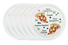 6er Set Pizzateller Margherita Motiv 32cm Porzellan weiß Pizza Pasta Teller