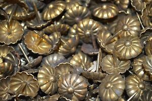 """Antique Lot 10 Ornate Large French Brass Upholstery Nails Tacks Nailheads 11/16"""""""