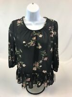 NWT Jolt Women's Black/Green/Pink Floral Stretch 3/4 Sleeve Sheer Top Sz S