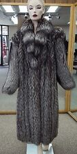 "Natural Silver Fox 52"" Coat With Cross Cut Shawl Collar; Size 12"