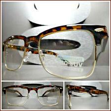 Men Women CLASSIC VINTAGE RETRO Style Clear Lens EYE GLASSES Tortoise Gold Frame