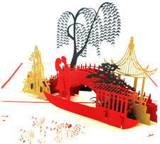 New Popup Greeting Oriental Bridge Love Birthday Card Great paper sculpture!