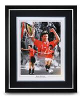 Bryan Robson Signed Photo Large Framed Display Man Utd Autograph Memorabilia COA