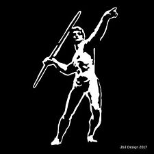 Javelin Thrower Track and Field Olympics Athlete Oracal White Vinyl Decal Window