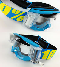 100% PERCENT STRATA MX MOTOCROSS GOGGLES BLUE with GOGGLE-SHOP ROLL-OFF CANISTER