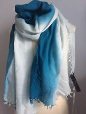 NWT EILEEN FISHER Wool Silk Cashmere Ombre Fringe Scarf Wrap in Aurora