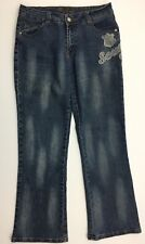 Southpole Womens Jeans Size 11 Bootcut Denim Embroidered Patch Fade Wash