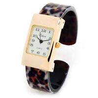 Leopard Gold Acrylic Band Small Size Women's Bangle Cuff Watch
