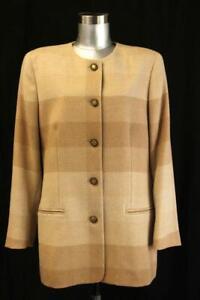 Vintage SALVATORE FERRAGAMO Brown Check ALPACA Blazer Jacket ITALY Designer L 12