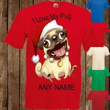 Hilarious Christmas Pug I Love My Pug Any Name Personalised Boys Girls T Shirt