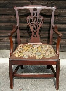 18th/19th Century Chippendale Style Carved Mahogany Armchair! (PAJU724)