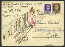 Italy covers 1944 uprated censored PC SCARCE Genova Raccomandate/Radio Audizione