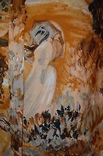 FRENCH Impressionism VTG 60s 70s ART DECO Big Collar Womens L TOP BLOUSE SHIRT