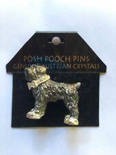 New Posh Pooch Pins Pin Brooch Black Russian Terrier Dog Austrian Crystals