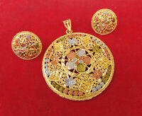 South Indian Fashion Jewelry Ethnic Gold Plated Big Pendant 22k Earrings Set a2