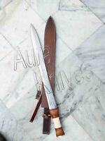 Custom Hand Made Top Steel Hunting Sword With  Leather Sheath