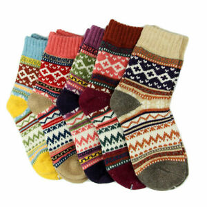 5 Pairs Casual  Women Wool Cashmere Thick Winter Sports Socks Warm Soft Solid UK