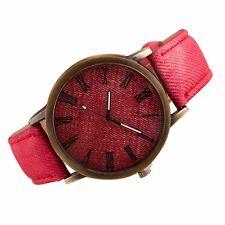 Reloj de Pulsera para Hombre Moda Vaquero Banda de Cuero Cuarzo Analógico Rojo