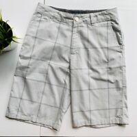 O'NEILL White Gray Plaid Flat Front Shorts Men's 30 EUC