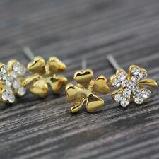 Four Leaf Lucky Flower Stud Earrings Set 18K Gold Plated Clover 7Mm Cute Crystal
