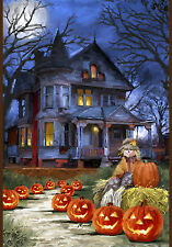 New listing New Toland Halloween Garden Flag Spooky Manor House Jack O' Lanterns 12.5 x 18