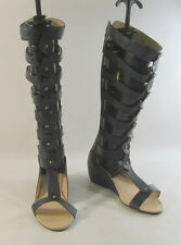 "new Black 2""Wedge Heel Open Toe Strap Sexy Summer Gladiator Knee sandal Size 9"
