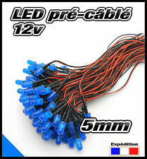 C447DB# LED 5mm 12v pré-câblé bleu diffusant 5 à 100pcs - pre wired LED blue