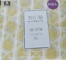 Miles End 100% Cotton Beige Yellow Medallion Full Sheet Set