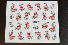 Nail Art Water Transfer Decal Stickers Red Hearts 1004