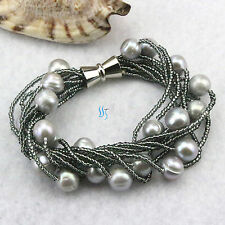"8"" 9Row 10-12mm Silver Gray Freshwater Pearl Bracelet 2mm Gray Bead"